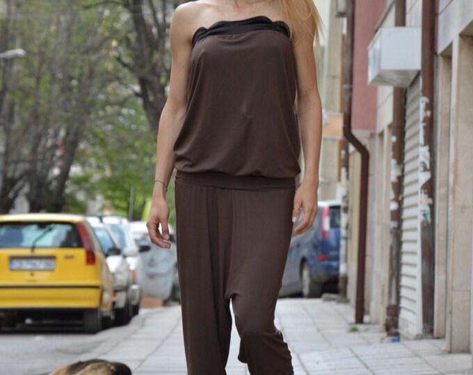 Cotton Jumpsuit, Sleeveless Brown Jumpsuit, Party Drop Crotch Jumpsuit, Loose Casual Drop Crotch Harem Pants by SSDfashion