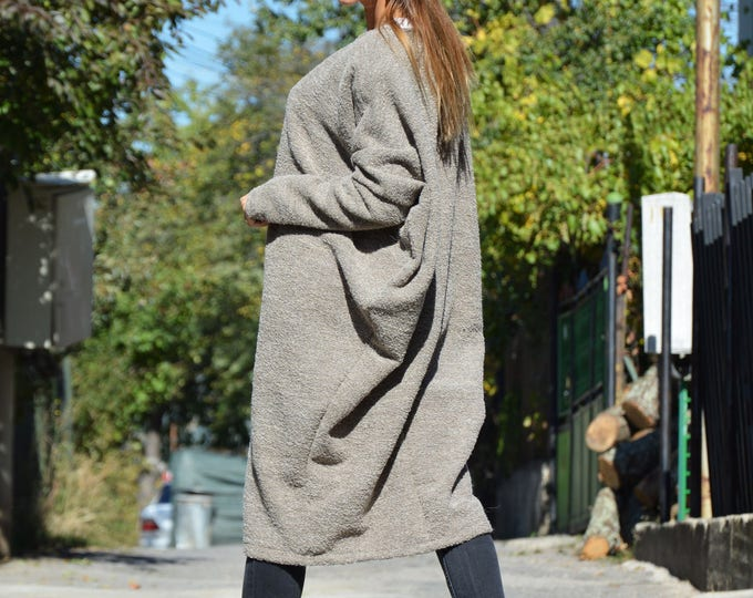 Winter Wool Dress, Boucle Tunic, Oversize Cozy Coat, Asymmetrical Sweater, Brown Coat, Warm Extravagant Pants by SSDfashion