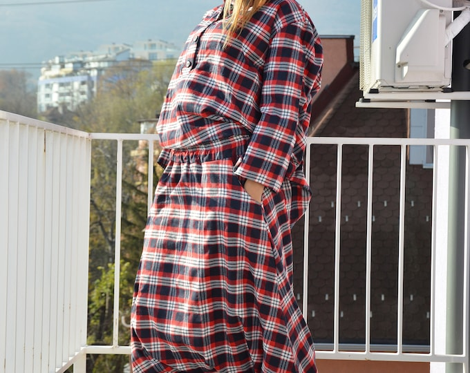 Shepherd's Plaid Set, Extravagant Wool Cotton Outfit, Drop Crotch Harem Pants, Plaid Wool Loose Shirt by SSDfashion