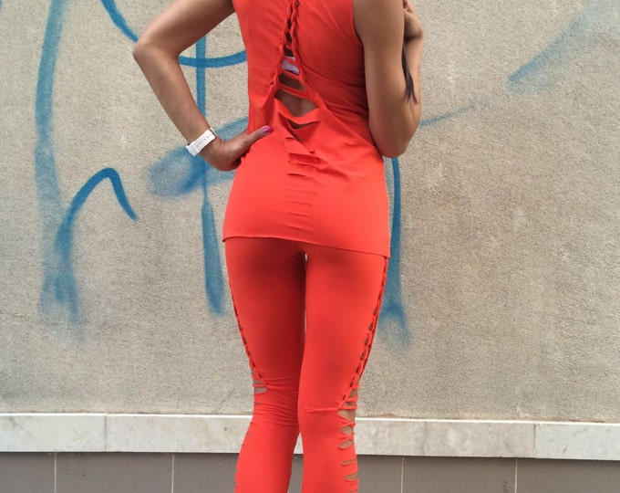 Women's Handmade Top Leggings, Orange Set Of 2 Parts, Yoga Set, Workout Long Leggings, Elegant Top, Sport Set by SSDfashion