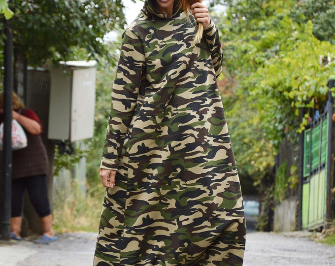 Extravagant Dress, Maxi Camouflage Tunic, Oversize Casual Dress, Hooded Kaftan Dress, Cotton Dress for Women by SSDfashion