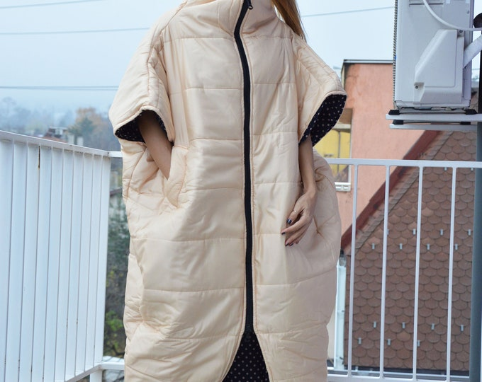 Fashion Asymmetric Ivory Women Vest, Maxi Extravagant Long Sleeveless Coat,  Winter Double side Zipper Coat by SSDfashion