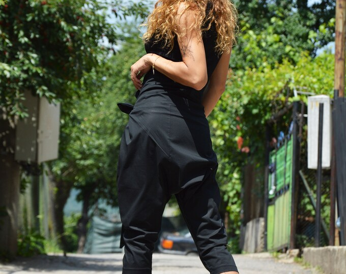 Black Loose Wide Pants, Cotton Maxi Pants, Harem Pants, Drop Crotch Trousers, High Waist Pants, Summer Pants by SSDfashion