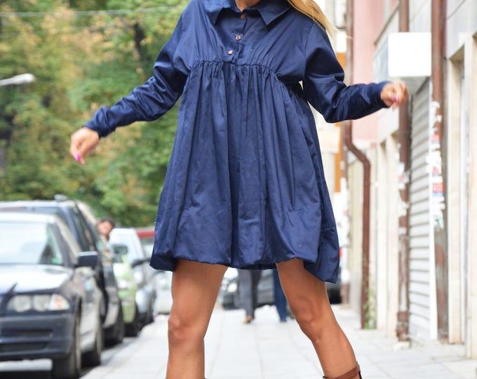 Dark Blue Shirt, Extravagant Shirt, Maxi Cotton Shirt, Oversize New Collection, Asymmetric Loose Shirt by SSDfashion