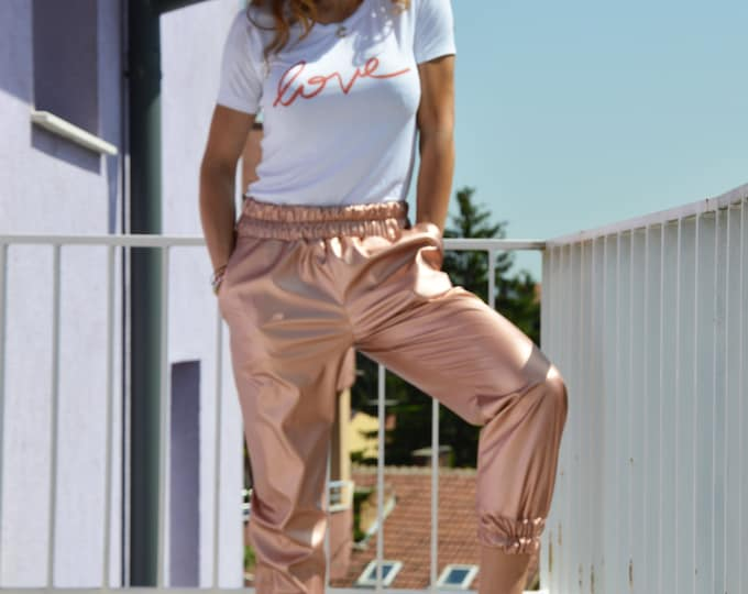 Leather Pants for Women, Eco Leather Pants,  Long Fashion Pants, Extravagant Vegan Leather Trousers, Pink Gold Pants by SSDfashion