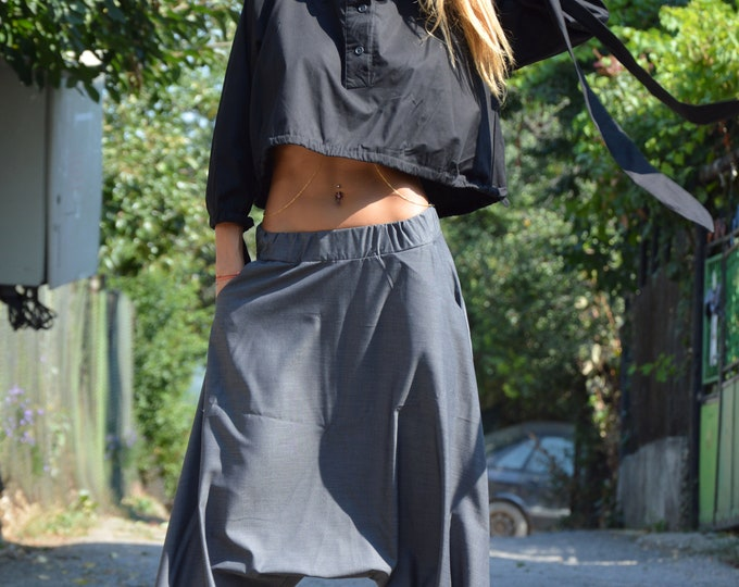 Women Drop Crotch Harem Pants, Maxi Loose Cold Wool Trousers, Side Pockets Wide Leg Pants by SSDfashion