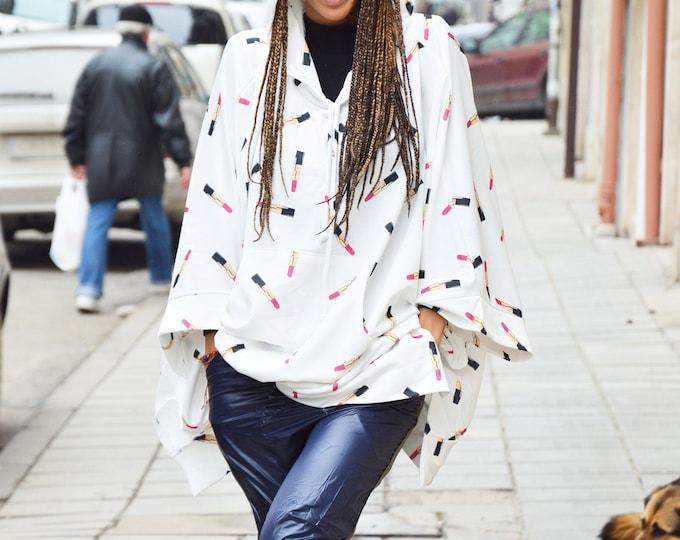 Extravagant Lipstick White Cotton Maxi Sweater, Hooded Asymmetric Shape Sweatshirt, Side Pockets Asymmetric Jacket by SSDfashion
