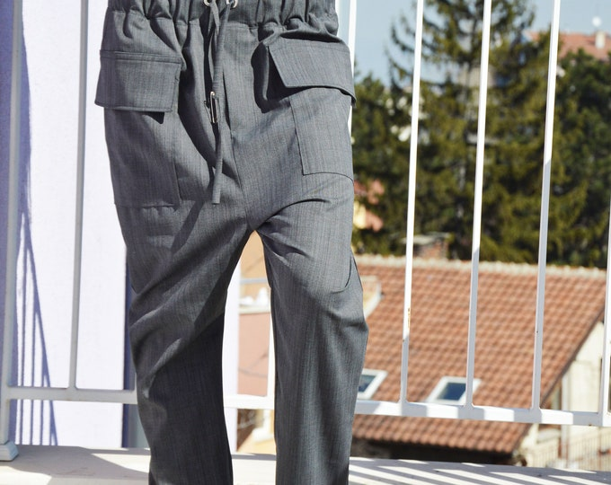 Grey Wool Harem Pants, Wide Led  Trousers, Extravagant Pocket Pants , Formal Pants by SSDfashion