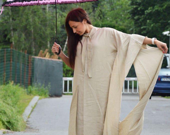 Linen Beige Maxi Dress, Asymmetrical Sexy Kaftan, Tunic Dress, Oversize Long Dress, Plus Size Clothing by SSDfashion