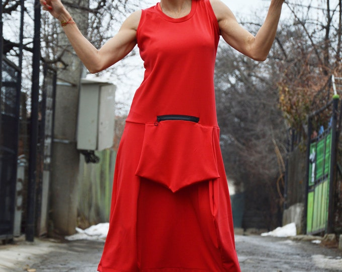 Midi Women Dress, Red Women Dress, Plus Size Sleeveless Dress, Fitted Dress, Day Dress, Tunic with Front Pocket by SSDfashion