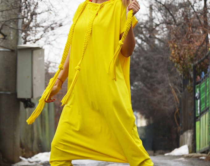 Jumpsuits Rompers, Yellow Women Jumpsuit, Union Suit, Summer Jumpsuit, Drop Crotch Wide Cotton Jumpsuit, Plus size Jumpsuit by SSDfashion