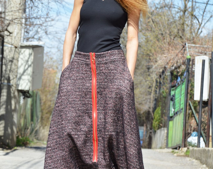Dark Red Wool Boucle High Waist Pants, Casual Bottom Harem Pants, Extravagant Drop Crotch Long Zipper Pants by SSDfashion