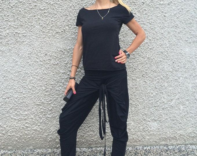 Black Pants, Woman Cotton Trousers, Extravagant Pants,Multi Functional Pants,Plus Size Clothing,Casual Drop Crotch Harem Pants by SSDfashion