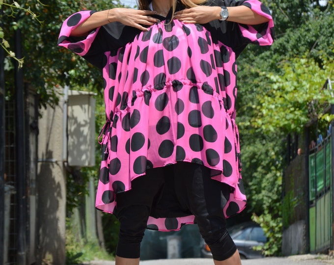 Plus Size Polka Dots Tunic, Black Purple Dress, Women Maxi Loose Shirt, One Size Chiffon Dress by SSDfashion