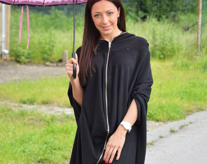 Black Hooded Jacket, Plus Size Clothing, Long Sleeve Maxi Tunic Top, Extravagant Sweatshirt With Zipper, Hoodie Top by SSDfashion