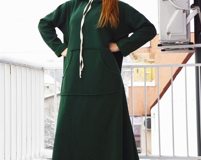 Women Winter dress, Olive Green Maxi dress, Long Dress for Women, Hooded Plus Size Dress, Cotton Dress by SSDfashion