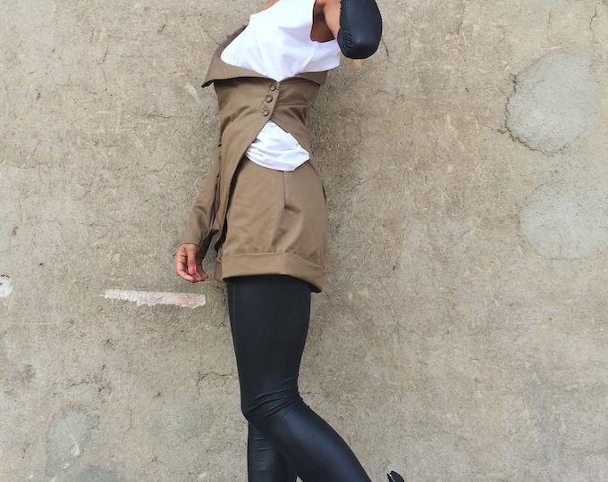 Extravagant Brown Set, Women Fashion Set, Oversize Buttoned Blazer, Elegant Casual Set, Drop Crotch Harem Shorts by SSDfashion