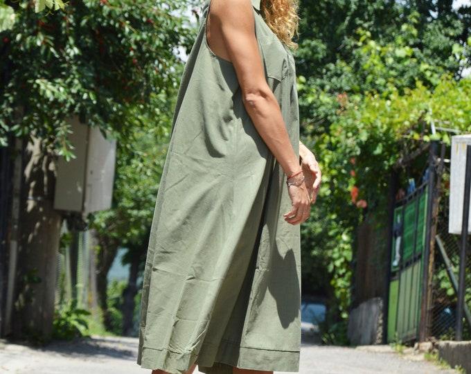 Loose Military Dress, Plus Size Summer Dress, Midi Dress, Womens Casual Dress, Linen Long Tunic, Party Dress, Kaftan Dress by SSDfashion
