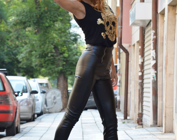 High Waist Pants With Zippers, Women Black Leather Leggings, Tight Extra Long Leggings, Black Pants, Leggings from Eco Leather by SSDfashion