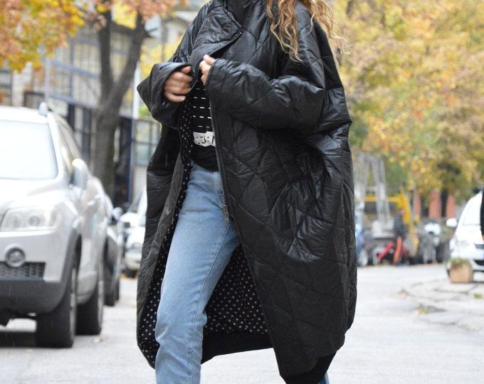 Asymmetric Black Sleeveless Coat, Plus Size Cardigan, Winter Coat, Maxi Coat, Warm Coat, Loose Overall Jacket by SSDfashion