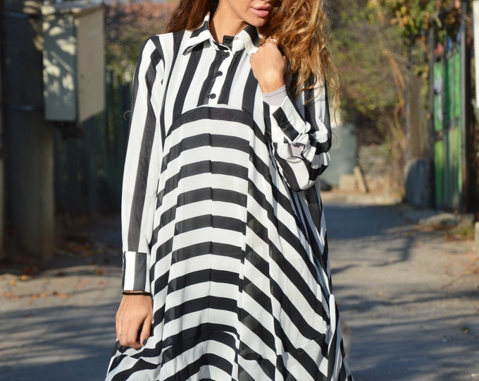 Striped Chiffon Long Shirt, Loose Plus Size Tunic, Women Oversize Maxi Shirt, Asymmetric Dress by SSDfashion