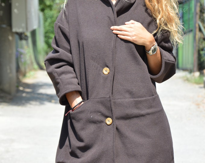 Brown Cashmere Winter Coat, Loose Women Coat with pockets, Elegant Casual Coat, Extravagant Handmade Cape by SSDfashion