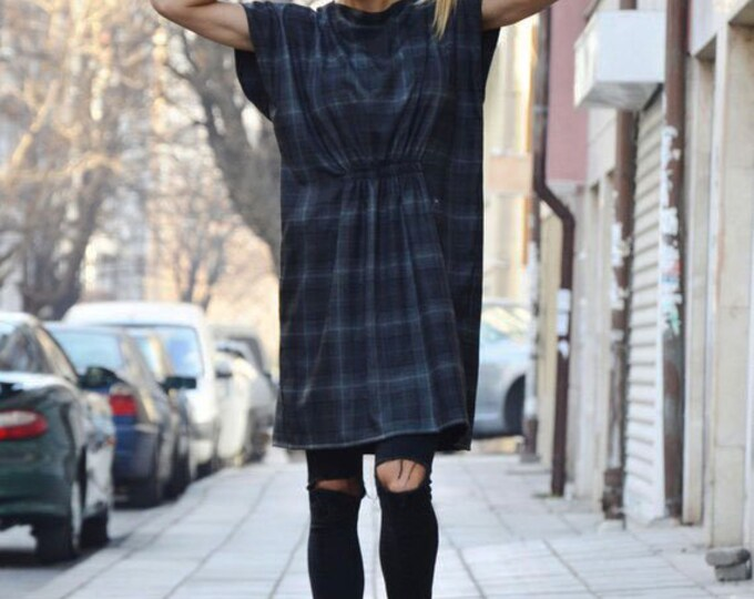 Casual Shepherd's Plaid Tunic, Elegant Top, Wool Cotton Mini Dress, Fall Winter Dress, Oversized Loose Dress by SSDfashion