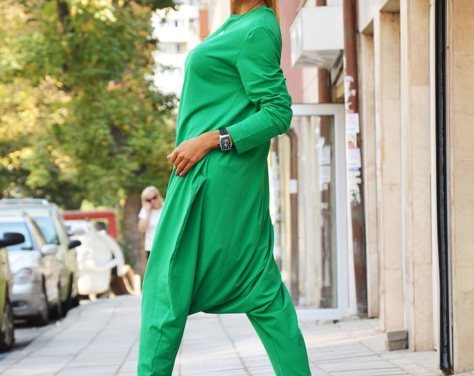 Green Cotton Jumpsuit With Zipper, Fashion Summer Jumpsuit, Casual Drop Crotch Pants, Plus Size Jumpsuit, Casual Pant by SSDfashion