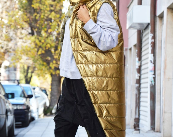 Asymmetric Hooded Vest, Extravagant Gold Vest, Sleeveless Oversize Vest, Fashion Designer Vest, Maxi Warm Vest by SSDfashion