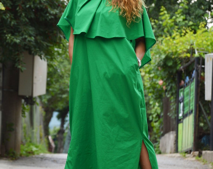 Green Women Maxi Dress, Summer Cotton Dress, Long Elegant Dress, Boho Dress, Oversize Dress, Extravagant Ruffle Dress by SSDfashion
