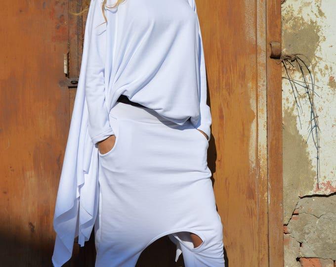 White Maxi Set, Cotton One Size Set, Maxi Tunic Top, Extravagant Drop Crotch Pants,Elegant Loose Set,Loose Pants,Casual Blouse by SSDfashion