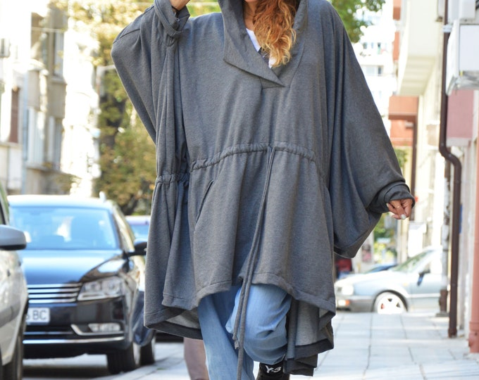 Long Dark Grey Hooded Sweatshirt, Quilted Cotton Hooded Top, Plus Size Maxi Sweater, Asymmetric Maxi Tunic by SSDfashion