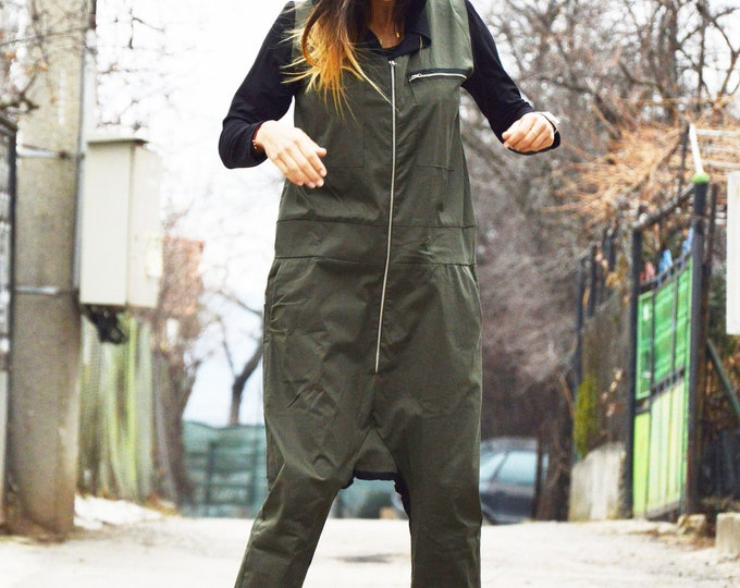 Plus size Hooded Jumpsuit, Military Jumpsuit, Long Zipper Jumpsuit Side Pockets, Maxi Black Hooded by SSDfashion