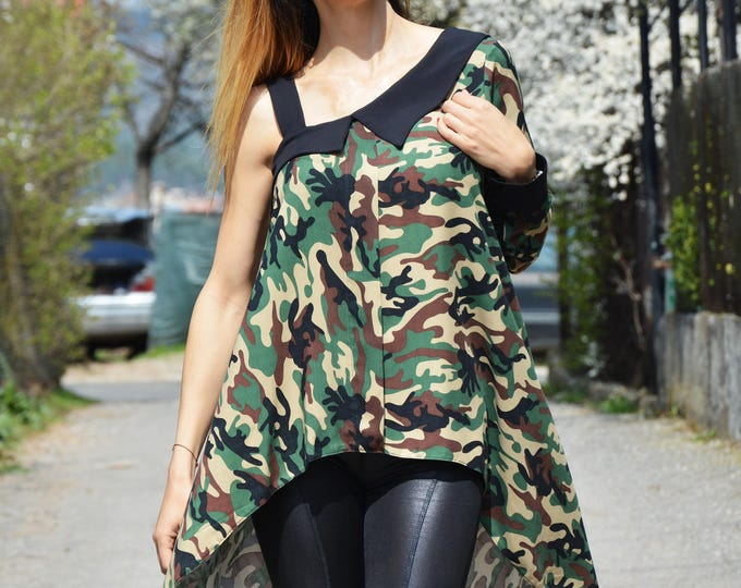 Military Loose Tunic, Womens Blouses, Oversize Plus Size Top, Plus Size Tunic, Long Top, Long Sleeve And Sleeveless Tunic by SSDfashion