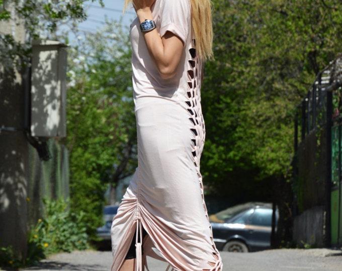 Asymmetric Rose Ashes Dress, Summer Sexy Open Back Dress, Womens Kaftan, Asymmetric Caftan, Long Short Dress, Maxi Dress by SSDfashion