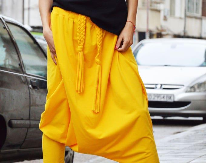 Loose Yellow Drop Crotch Harem Pants, Extravagant Casual Pants, Maxi Pants, Comfortable Pants, Oversize Pants by SSDfashion