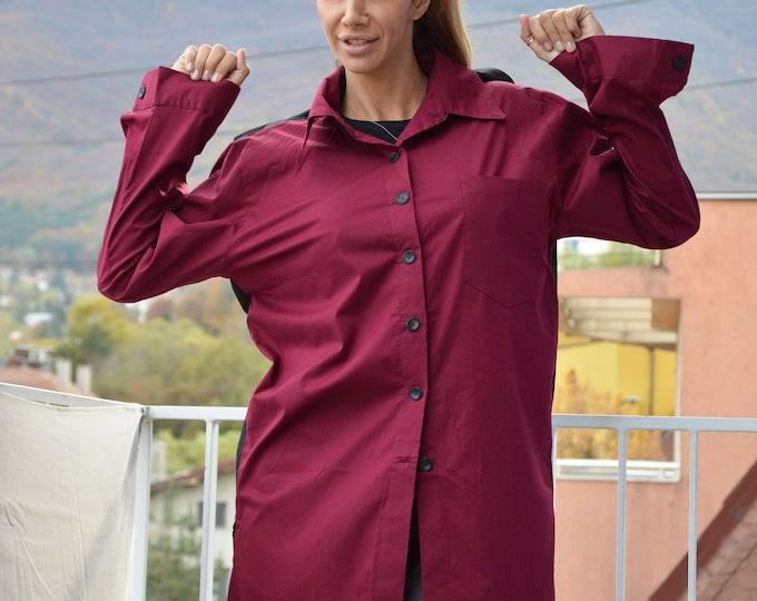 Black Burgundy Shirt for Women, Cotton Tunic Top, Loose Extravagant Sleeves Shirt, Asymmetric Two Colors Shirt by SSDfashion
