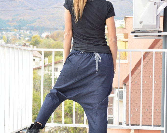Autumn Loose Dark Blue Denim Pants, Casual Sexy Extravagant Pants, Drop Crotch Bottom Pants by SSDfashion
