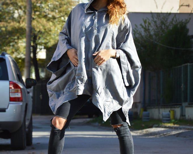 Linen Grey Hooded Tunic, Asymmetric Jacket, Extravagant Sweatshirt with loose Hood, Side Pockets Tunic, Maxi Oversize Blazer by SSDfashion