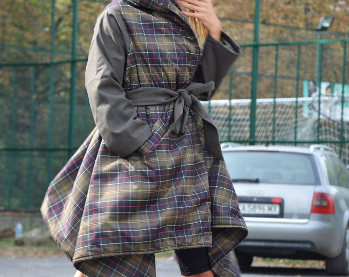Plaid Trendy coat, Military Green Shepherd Plaid Coat, Winter Coat, Asymmetrical Wool Coat, Warm Coat with Side Pockets by SSDfashion