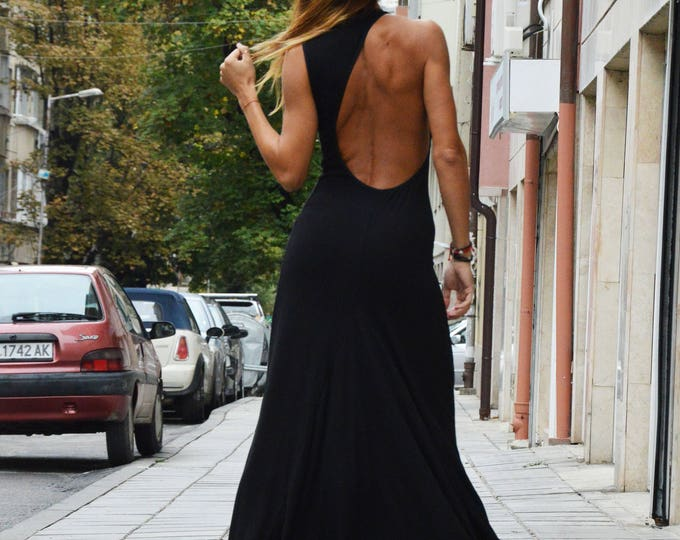 Black One Shoulder Dress, Elegant Sexy Dress, Open Back Dress, Plus Size Dress, Extravagant Long Backless Dress, Summer Dress by SSDfashion
