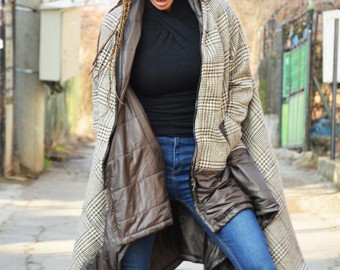 Women's Winter Coat, Extravagant Wool Coat, Extra Warm Jacket, Asymmetrical Coat, Jacket for Women by SSDfashion