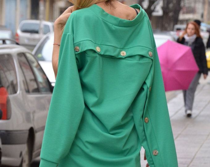 Maxi Tunic Dress, Plus Size Women's Tunic, Summer Dress, Green Dress, Extravagant Asymmetrical Long Tunic by SSDfashion