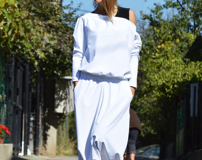 White Harem Jumpsuit, Womens Jumpsuit, Rompers for Girls, Hooded Extravagant Overall, Elegant Maxi Jumpsuit by SSDfashion
