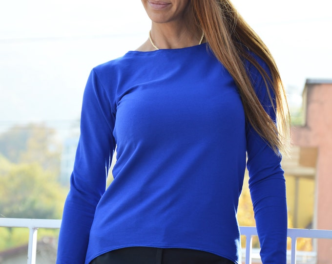 Extravagant Turkish Blue Blouse, Cotton Asymmetrical Women Top, Plus Size Tunic, Long Sleeve by SSDfashion