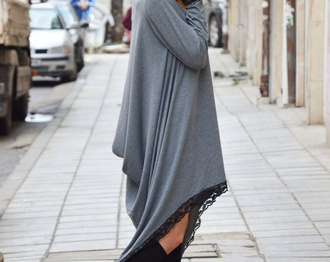 Asymmetric Sexy Tunic, Oversize Maxi Sleeves Dress, Long Gray Dress, Dress for Women, Plus Size Dress by SSDfashion