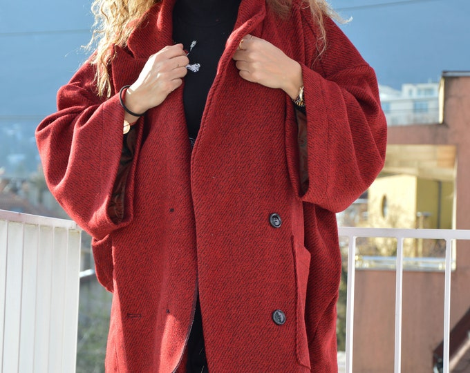Clothing Coat, Winter Coat, Red Boucle Women Coat, Asymmetrical Wool Coat, Casual Large Pocket Coat, Trendy Coat, Boucle Coat by SSDfashion