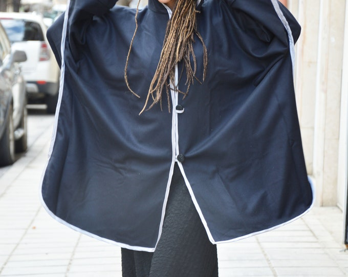 Elegant Dark Blue Hooded Coat, Extravagant Cashmere Loose Coat, Asymmetric Warm Maxi Jacket by SSDfashion