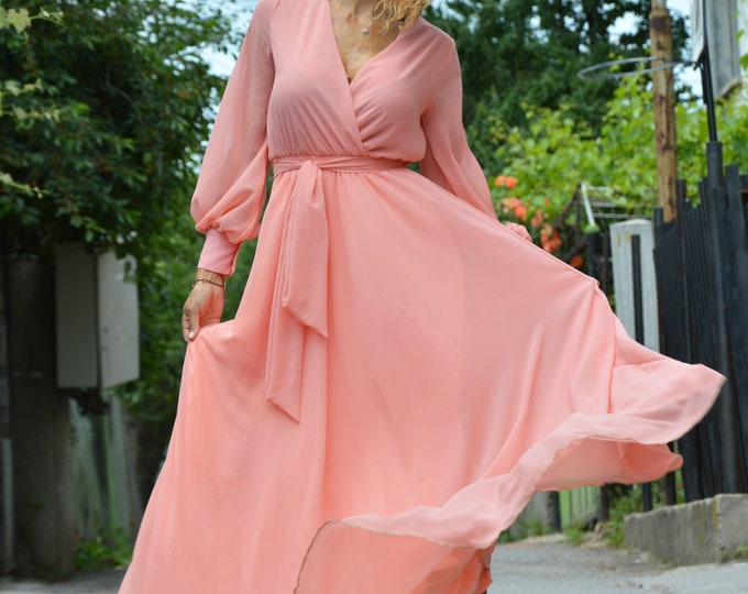 Summer Peach Dress, Long Dress, Maxi Chiffon Dress, Beach Dress, Wedding Dress, Elegant Dress, Evening Dress by SSDfashion