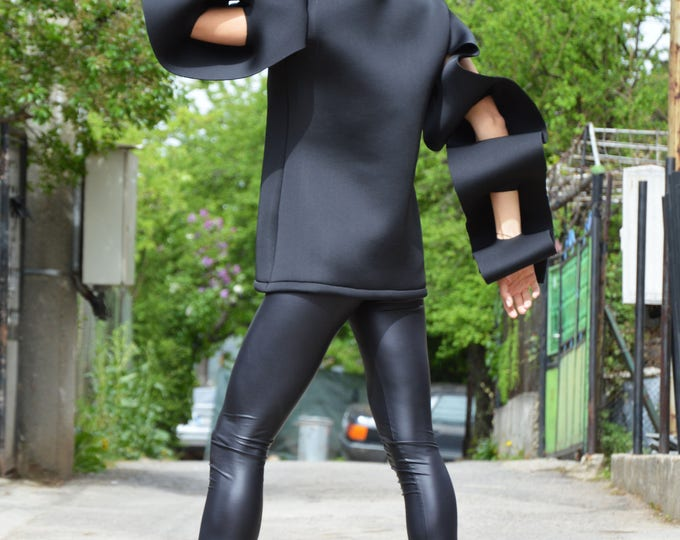 Black Extravagant Long Sleeves, Maxi Neoprene Black Tunic Top, Asymmetrical Tunic, Oversize Blouse by SSDfashion